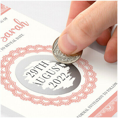 £0.99 • Buy PERSONALISED Wedding Save The Date Cards With Envelopes Scratch Reveal Pink Lace