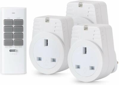 £15.99 • Buy Lunvon Wireless Remote Control Sockets Electrical Plug 12 Programmable Channels