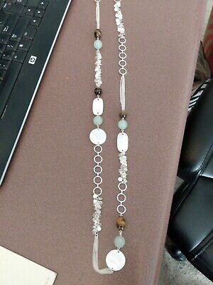 $ CDN10.03 • Buy Lia Sophia Silver Long Circles Necklace With Shell And Green And Brown Beads