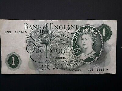 Old English One Pound £1 Note From 1955 / 1962 Cashier LK O Brien • 5£