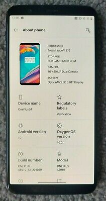 AU53 • Buy OnePlus 5T A5010 - 64GB - Used Black Smartphone, Android 10