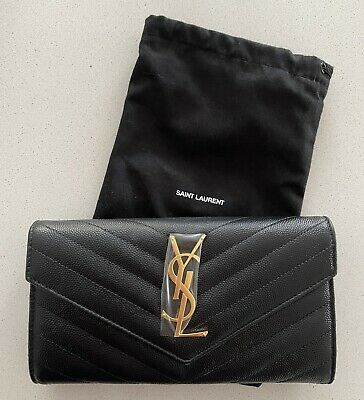 AU799 • Buy Authentic SAINT LAURENT YSL Large Grain De Poudrè Quilted Leather Wallet Black
