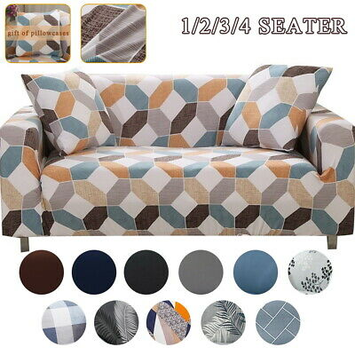 AU17.09 • Buy Sofa Covers 1/2/3/4 Seater High Stretch Lounge Slipcover Protector Couch Cover
