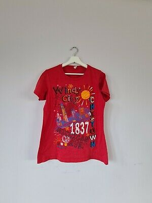 £7.50 • Buy Womens Chicago Windy City 1837 Graphic Print T-Shirt In Red XL