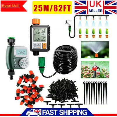 £9.99 • Buy Automatic Drip Irrigation System Kit Plant Timer Self Watering Garden Hose 25M