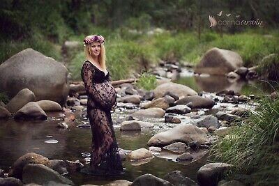 AU30 • Buy Black Lace Maternity Gown Dress Drape - Long Sleeves - Photo Shoot Prop Pregnant