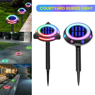 LED Solar Power Ground Lights Colourful Decking Outdoor Garden Lawn Path Lamp UK • 9.99£