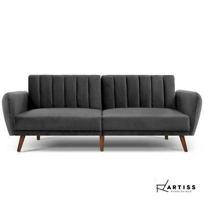 AU357 • Buy Artiss Sofa Bed Lounge 3 Seater Futon Couch Beds Recliner Wood 207cm Velvet Grey