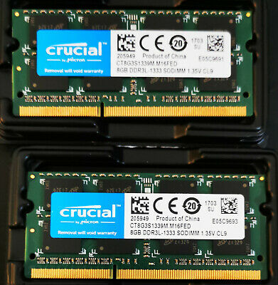 AU51 • Buy Computer Memory Crucial 16GB 2X8GB DDR3L-1333 SODIMM RAM For Laptop And IMac