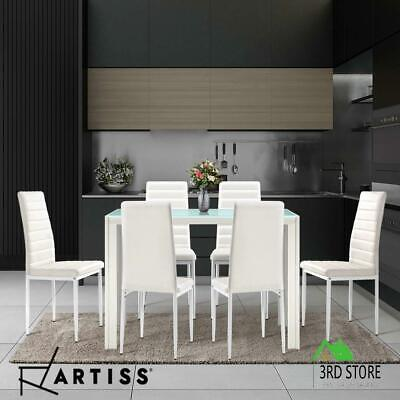AU227.80 • Buy Artiss 7-pc Dining Table And Chairs Set Glass Tables Leather Seat Chair White
