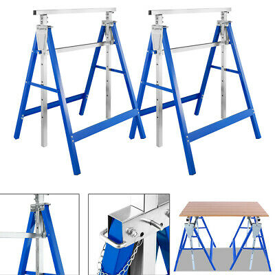 Folding Saw Horse Trestle 200kg Metal Support Bars Stands Work Bench Twin Pack • 44.99£