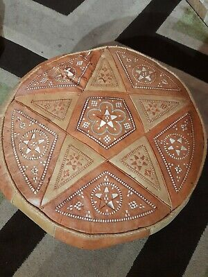 Vintage Moroccan Leather Hand Made Pouffe  • 45£