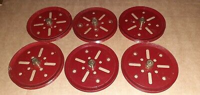 6 X #19b Pre War Dark Red Meccano(stamped) 3  Pulley7(very Nice Condition) • 3£