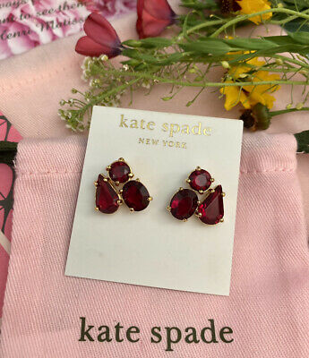 $ CDN52.01 • Buy Beautiful Kate Spade Fragment Cluster Stud Earrings Ruby Red NWT Rare Find