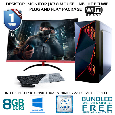 AU749.99 • Buy Intel Gen 6 Computer Office Desktop With 27in Curved 1080P Monitor PCI WIFI HDMI