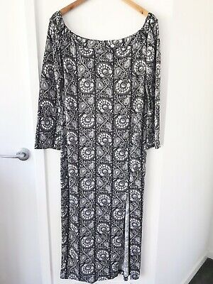 AU45 • Buy TIGERLILY Size 14 Black/White Off Shoulder Long Flared Sleeve Fitted Maxi Dress