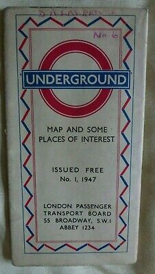 London Passenger Transport Board: Underground Map, Folded Paper: No. 1, 1947 • 6.50£