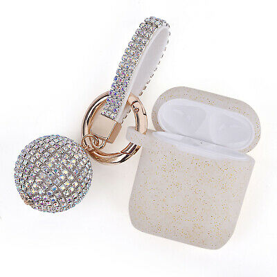 AU7.99 • Buy Apple Airpods 1&2 Protective Slim Case Cover With Diamond Ball Keychain