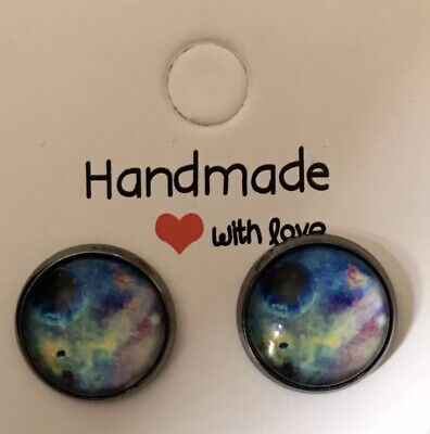 £5 • Buy Solar Planet Image Cabochon Mounted 12mm Stud Earrings