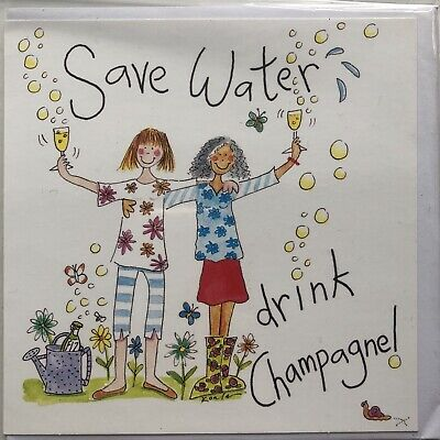 """£3 • Buy Save Water Drink Champagne Birthday Greeting Card 5x5"""" S227 Funny Humorous"""