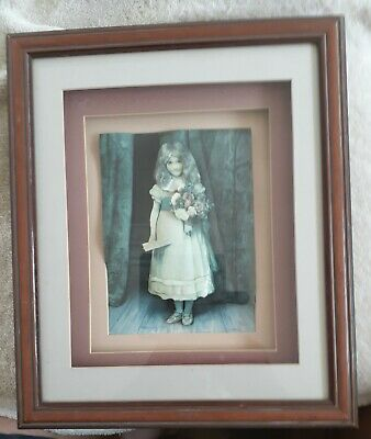 AU30 • Buy 3D Raised Young Girl With Flowers Beautiful Picture 6x9 Framed.