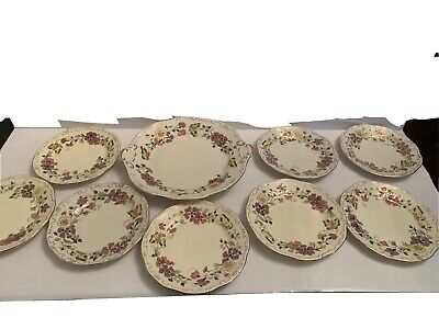 AU413.69 • Buy Zsolnay Hand Painted Porcelain Dessert Cake Plate Set