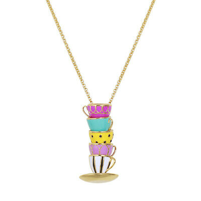 $ CDN31.57 • Buy Kate Spade New York Pink Tea Time Cups Pendant Long Necklace With Dust Bag