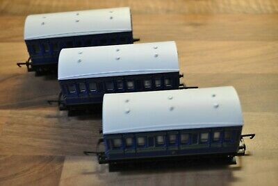 Hornby 4 Wheel Blue Coaches X3 - For Caledonian Etc • 20£