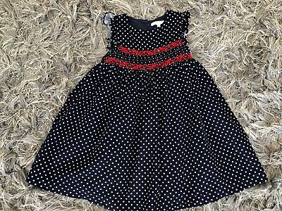 AU10.82 • Buy John Lewis Girls Cord Navy/Red Smocked Dress Age 2-3 Years Lined + Net Flared