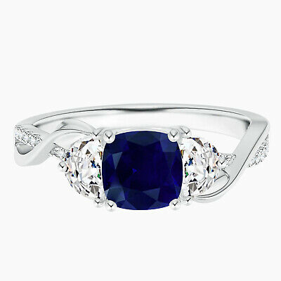 AU317.87 • Buy Cushion Sapphire And Half Moon Simulated Diamond Leaf Ring In 10K White Gold