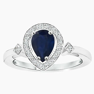 AU317.87 • Buy Pear Sapphire Halo Ring With Simulated Diamond Accents In 10K White Gold