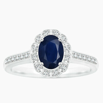 AU317.87 • Buy Classic Oval Blue Sapphire Halo Ring With Simulated Diamond In 10K White Gold
