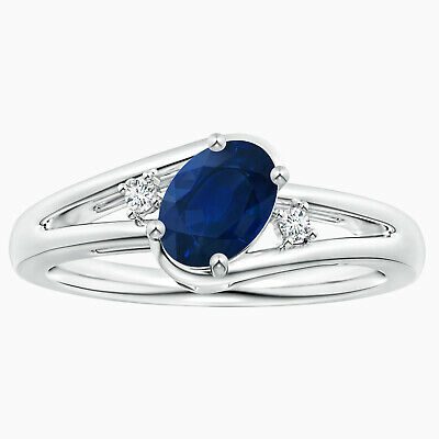AU284.06 • Buy Split Shank Sapphire Engagement Ring With Wedding Band In 10K White Gold
