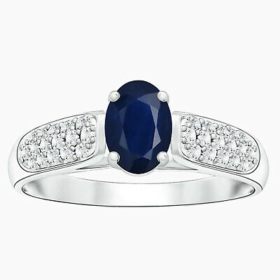 AU290.81 • Buy East-West Oval Cut Blue Sapphire Solitaire Ring  In 10K White Gold