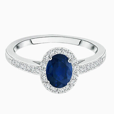 AU277.28 • Buy 0.5 Cts Oval Cut Blue Sapphire Gemstone Solitiare Halo Ring In 10K White Gold