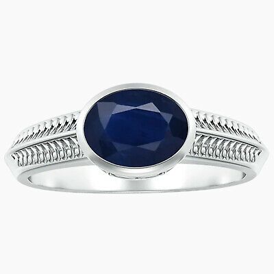 AU284.06 • Buy Vintage Inspired Bezel-Set Oval Sapphire Ring With Grooves In 10K White Gold