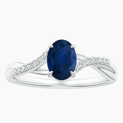 AU334.78 • Buy Blue Sapphire Split Shank Ring With Simulated Diamond Accents  In 10K White Gold