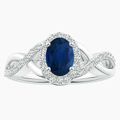 AU284.06 • Buy Oval Blue Sapphire Crossover Ring With Simulated Diamond In 10K White Gold
