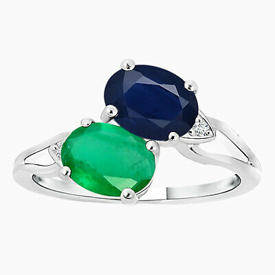 AU351.68 • Buy Two Stone Oval Emerald And Sapphire Split Shank Ring In 10K White Gold