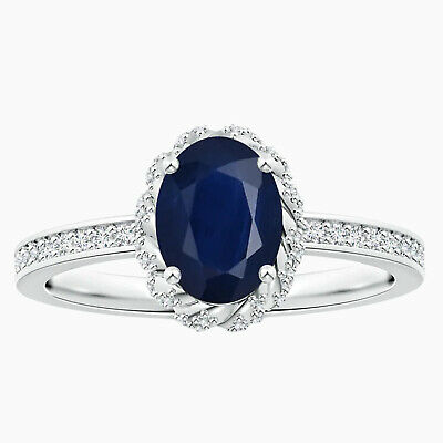 AU284.06 • Buy 1.50 Cts Oval Blue Sapphire Ring With Simulated Diamonds In 10K White Gold