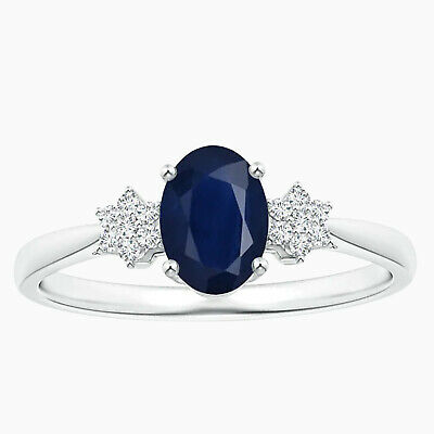 AU321.25 • Buy Cluster Ring!! Oval Blue Sapphire Gemstone Solitiare Ring In 10K White Gold