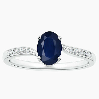 AU300.96 • Buy Solitiare Oval Sapphire With Simulated Diamonds Bypass Ring In 10K White Gold