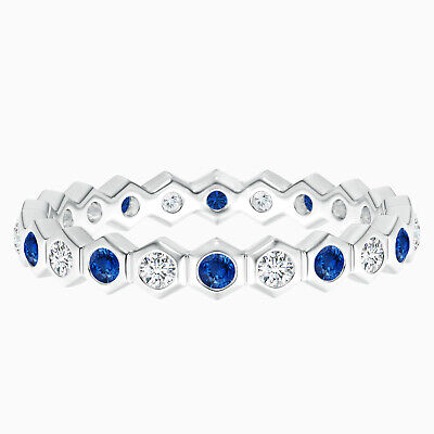 AU250.23 • Buy Hexagonal Blue Sapphire And Simulated Diamond Eternity Band In 10K White Gold