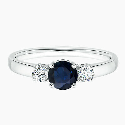 AU277.28 • Buy 0.5 Cts Round Sapphire And Three Stone Engagement Ring In 10K White Gold