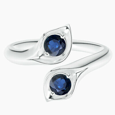 AU304.34 • Buy 0.50 Ctw Round Blue Sapphire Gemstone Women Stackable Ring In 10K White Gold