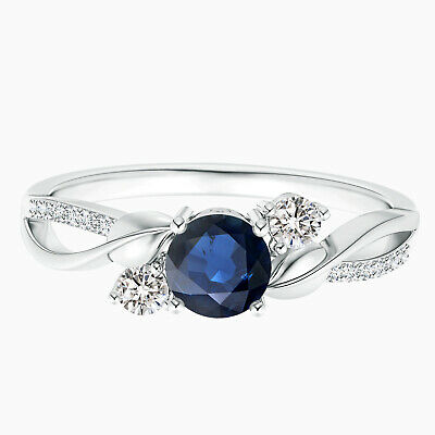 AU297.57 • Buy 0.5 Cts Blue Sapphire Twisted Ring With Simulated Diamond In 10K White Gold