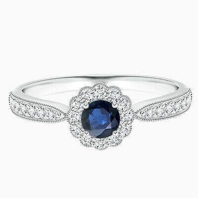 AU314.48 • Buy 5 MM Round Sapphire Ring With Simulated Diamonds In 10K White Gold