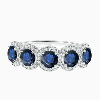 AU300.96 • Buy Five Stone Ring!! Round Sapphire Half Eternity Stackable Ring In 10K White Gold