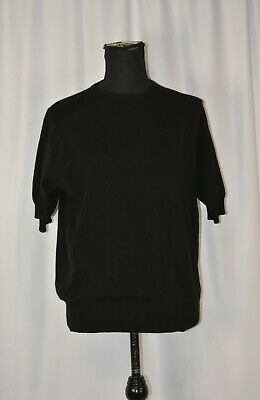 N.Peal Women's Cashmere Sweater Size Large Short Sleeve Black Pullover Knit Fun • 28.03£