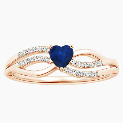 AU334.78 • Buy 4.00 MM Solitaire Blue Sapphire Heart Promise Ring In 9K Rose Gold